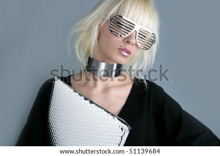 blonde fashion futuristic businesswoman silver glasses