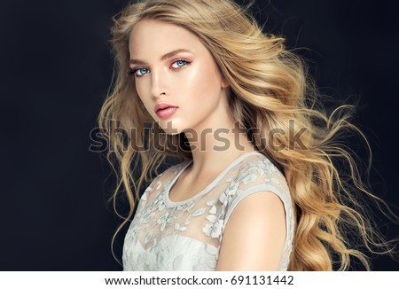 blonde fashion  girl with long  ...