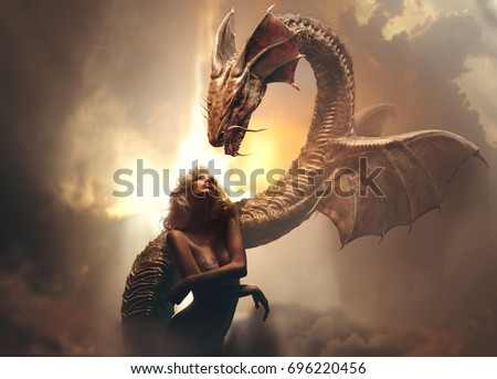 Blonde girl and dragon in fantasy world against bright cloudy background