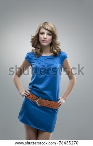 blonde girl blue dress pose glamorous