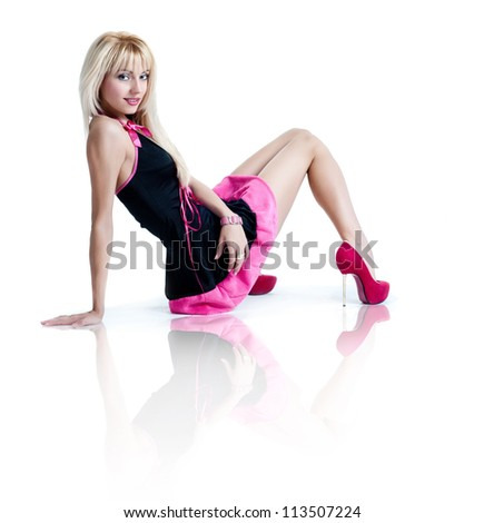 Blonde girl in a short dress