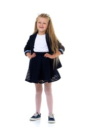 Blonde girl in school uniform. Isolated on white background