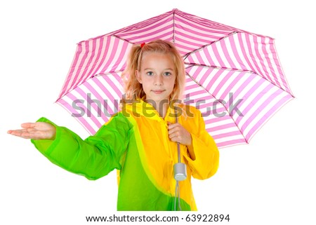 blonde girl standing under umbrella feel if it is raining over white background