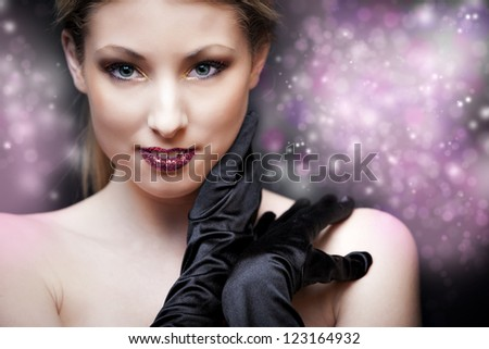 Blonde girl with black gloves