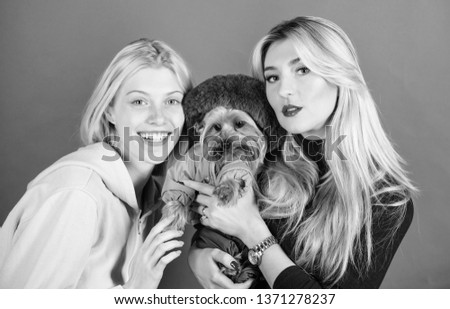 Blonde girls adore little cute dog. Women hug yorkshire terrier. Cute pet dog. Yorkshire terrier is very affectionate loving dog that craves attention. Yorkshire Terrier breed loves socialization.