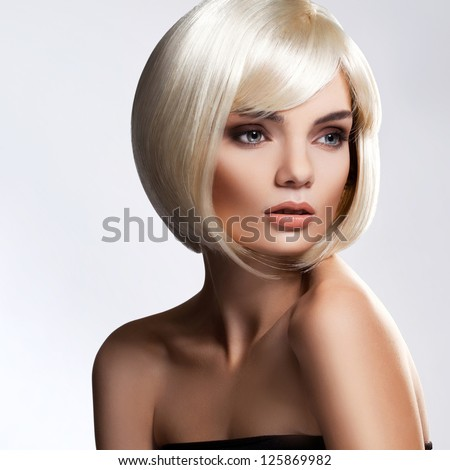 Blonde Hair Portrait of beautiful blonde with with Short Hair High quality image