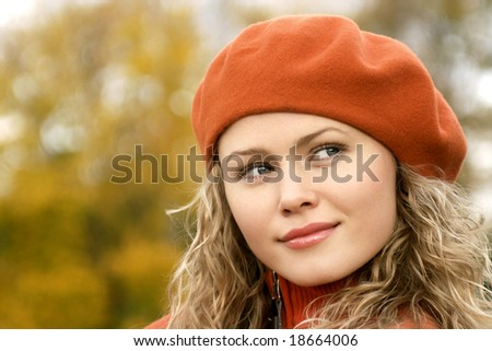 blonde in orange take - stock photo