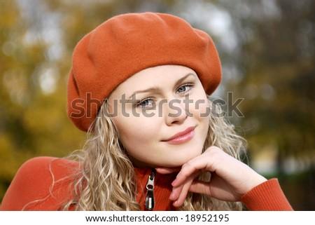 blonde in orange take