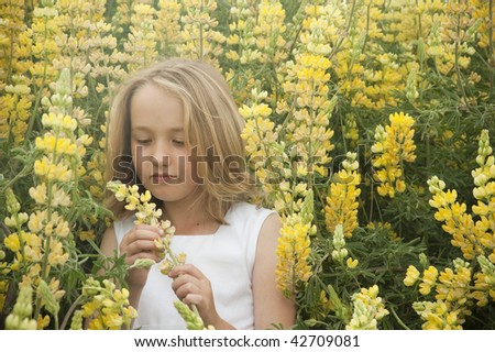blonde little girl standing peacefully  in yellow lupine wildflowers with reflective expression on her face