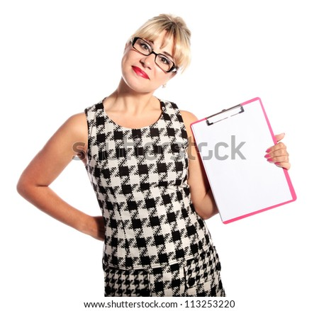 Blonde secretary with a pink clipboard isolated on white