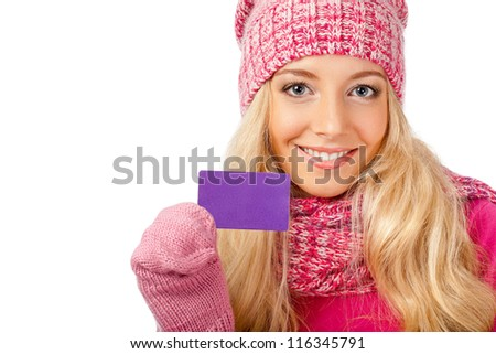 blonde smiling woman holding blank card over white background