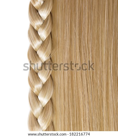 Blonde Straight Hair and Braid or Plait isolated on white. Hair Care. Hair Salon