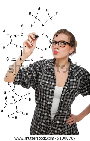 blonde student girl drawing a chemical formula in the air, isolated on white