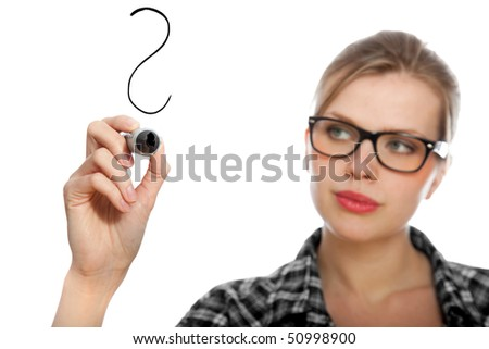 blonde student girl drawing a question mark in the air, isolated on white
