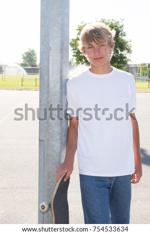 Blonde teen boy skater — pic 10