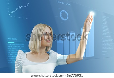 Blonde touching future - Interfaces collection - stock photo