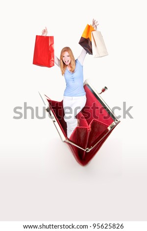 blonde with shopping bags jumping out of purse
