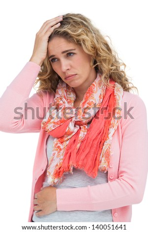 Blonde woman having both headache and belly pain on white background