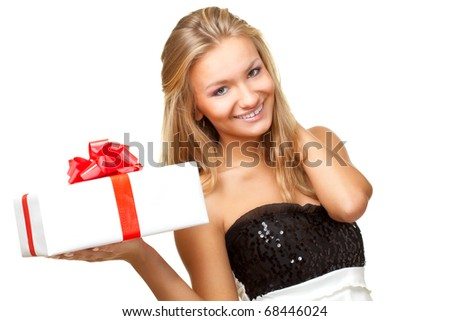 blonde woman holding gift box over white