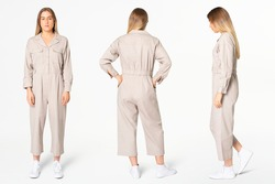 Blonde woman in beige jumpsuit with design space streetwear apparel full body set