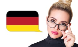 Blonde woman in glasses near dialogue frame with german flag. Speak language concept.