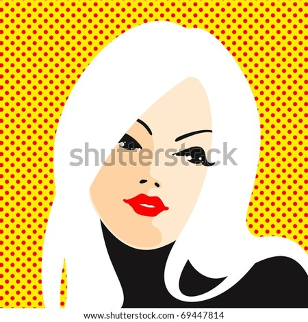 Blonde woman portrait (raster version) - stock photo
