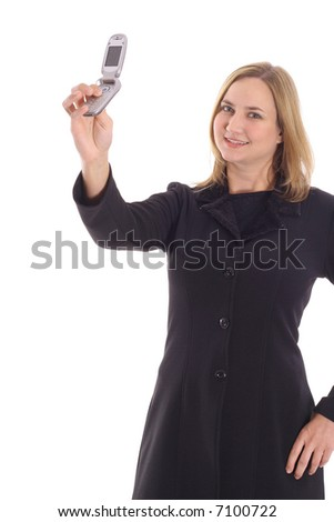 Blonde Woman Taking Picture Of Herself On Camera Phone Stock