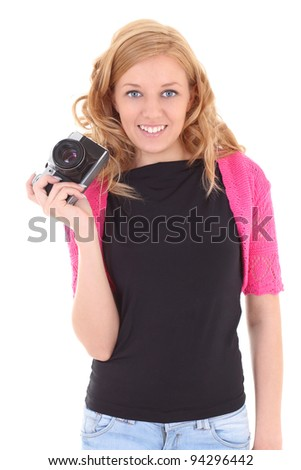 Blonde woman with retro camera over white