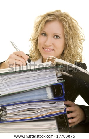 Blonde woman working in the office
