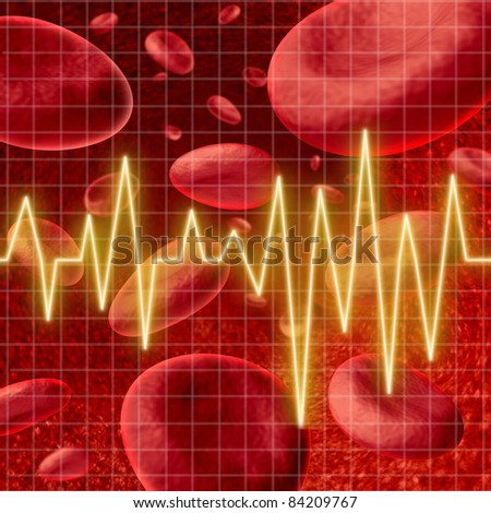 Blood cells with an ekg heart monitor symbol  on a graph grid representing the concept of healthy human artery circulation and medical coronary care in relation to strokes.