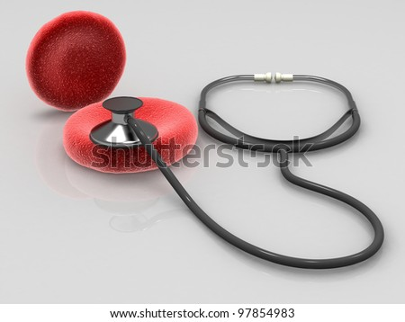 Blood cells with medical stethoscope