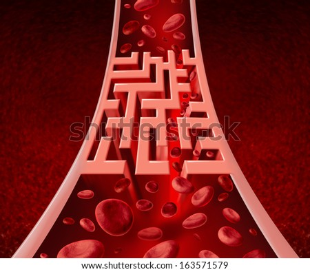 Blood circulation problems and blocked arteries health care concept with a human artery that has a blockage shaped as a maze or labyrinth as a metaphor for the medical circulatory challenges.