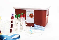 Blood collection tubes in rack with blue butterfly catheter and sharps container.