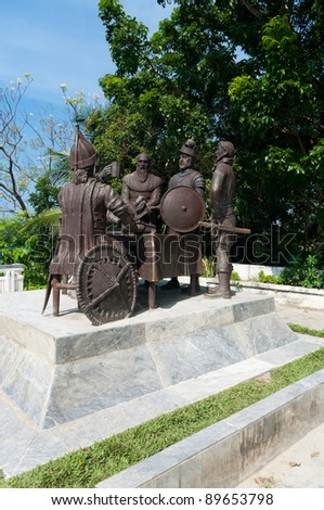 Blood Compact statue in Tagbilaran City, Bohol, the Philippines, commemorating the peace pact between Datu Sikatuna and Miguel L?pez de Legazpi in 1565.