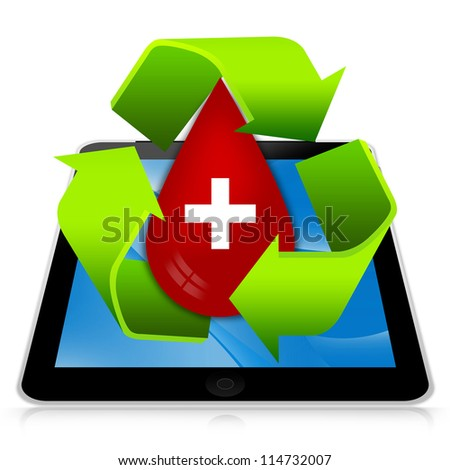 Blood Donation Concept Present By Tablet PC With Green Recycle Sign Around Red Blood Drop With White Cross Sign Inside Isolated on White Background - stock photo