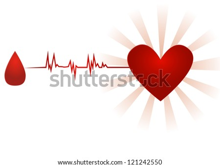 Blood donation/Old paper icon with drop of blood going with ecg to heart, isolated on white