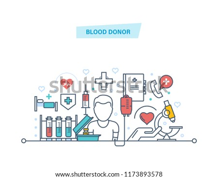 Blood donor. Volunteer, medical research, medicine and healthcare. Blood transfusion equipment, help, medical support, medical assistance for people in need of donation. Illustration thin line design #1173893578