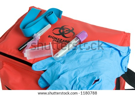 Rubber Gloves Drawing Blood Drawing Kit Showing The
