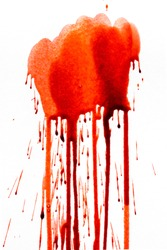 Blood dripping down isolated on white background