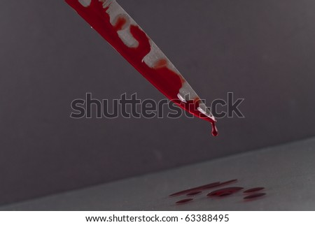 stock photo : Blood Dripping Off Knife