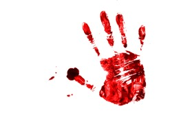 blood drops - criminality and violence - bloody palm print