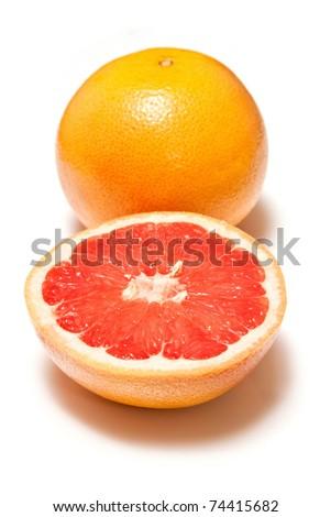 Blood grapefruit isolated on a white studio background.