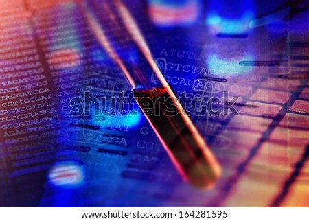 Blood in test tube and background with chemical formula