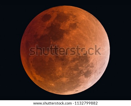 Blood moon,Lunar Eclipse ,Moon Eclipse ,Total Eclipse  taken by dedicated astrophotography camera on telescope.