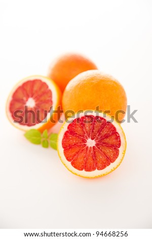 Blood Orange Slices Isolated on White