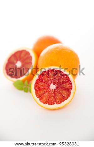 Blood Orange Slices Isolated on White