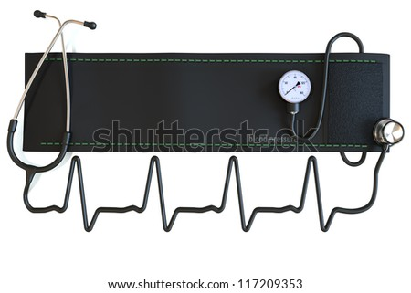 Blood pressure cuff with stethoscope in the shape of a heart waveform. Room for text or copy space on a white background.