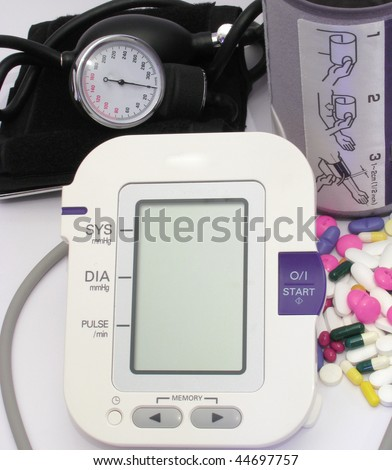 Blood pressure devices-new and old technology and pills - stock photo