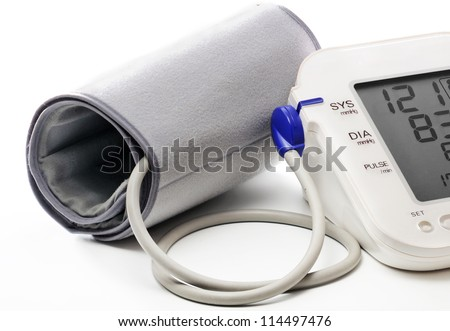 Blood pressure meter showing a normal blood pressure (121/83). Isolated on white.