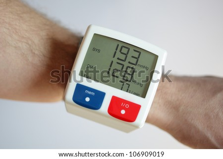 Blood pressure monitor with very high reading concept for illness and heart risk